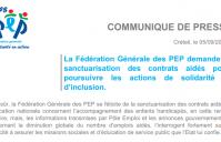 Les PEP demandent la sanctuarisation des contrats aidés pour poursuivre les actions de solidarité et d'inclusion.